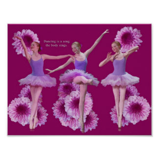 Ballerina and Pink Mums Poster