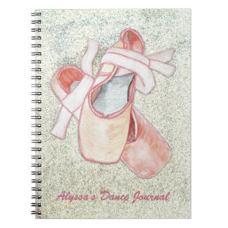 Ballerina Art Dancer Journal Custom Text Spiral Note Book