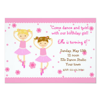 Ballerina Ballet Dancer Birthday Party Invitations