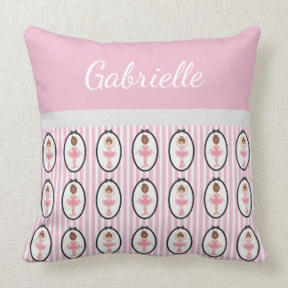 Ballerina Ballet Girly Pink Striped Personalized Cushion