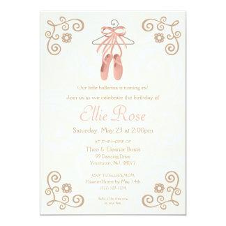 Ballerina Ballet Shoes Girl Birthday Invitation