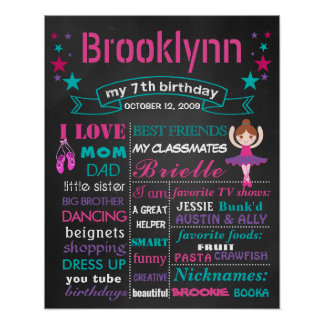 Ballerina Balley shoes Birthday chalkboard sign Poster