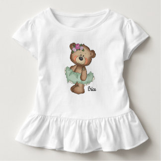 Ballerina Bear in Green Toddler Ruffle Tee