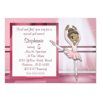 """Ballerina Birthday Invitation"" 7"" x 5"" Cards"