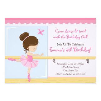Ballerina Birthday Invitation Brunette 5x7 Card