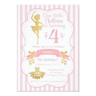 Ballerina Birthday Invitation in Pink and Gold