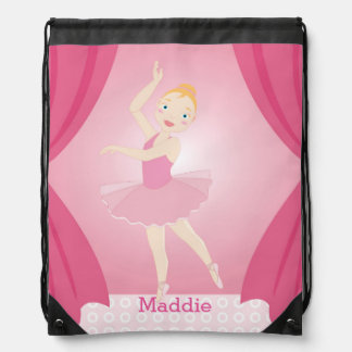 Ballerina birthday party drawstring backpack