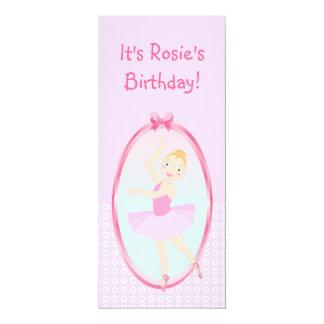 "Ballerina birthday party 4"" x 9.25"" invitation card"