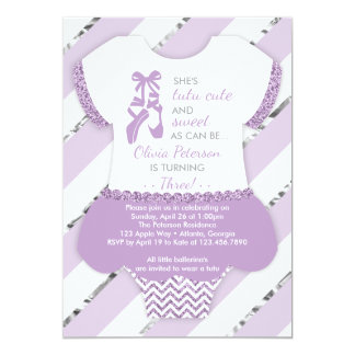 Ballerina Birthday Party Invitation, Tutu, Purple Card