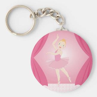 Ballerina birthday party basic round button keychain