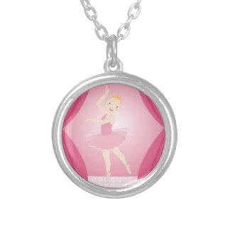 Ballerina birthday party round pendant necklace