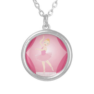 Ballerina birthday party silver plated necklace