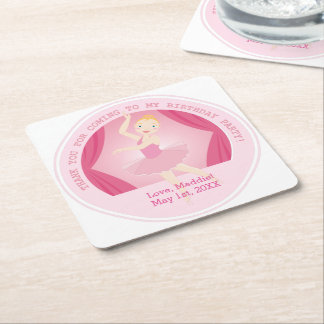 Ballerina birthday party square paper coaster