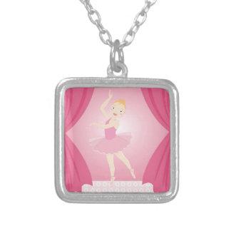 Ballerina birthday party square pendant necklace
