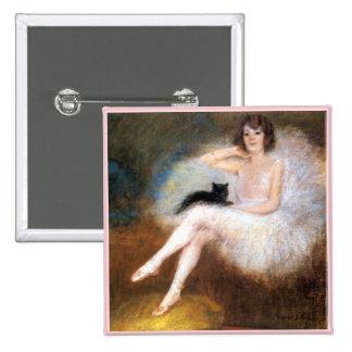 Ballerina & Black Cat 15 Cm Square Badge