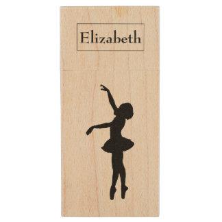 Ballerina Black Silhouette Personalized Wood USB Flash Drive
