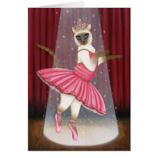 Ballerina Cat Chocolate Point Siamese Greeting Car Card