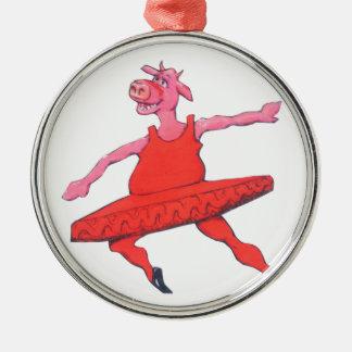 Ballerina Cow Silver-Colored Round Decoration