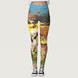 Ballerina Dancer Gold City Pink Tulips Leggings