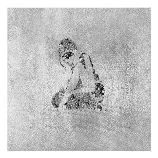 Ballerina Dancer Grungy Metallic Silver Gray Poster