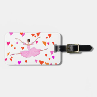Ballerina dancing in Colorful Hearts Tag For Luggage