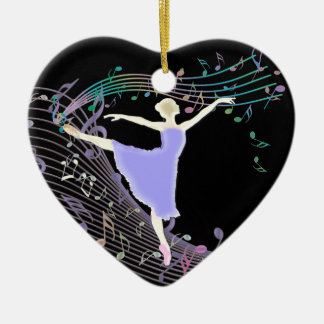 Ballerina Dancing in Fantasy Rainbow Music Notes Ceramic Ornament