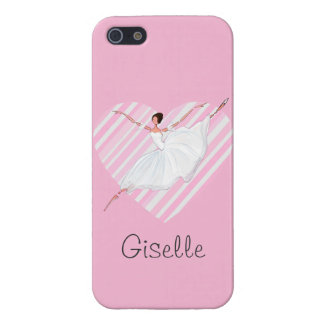 Ballerina dancing in Pink Stripes - Castomizable iPhone 5/5S Covers