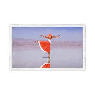 Ballerina Dancing on the Beach Acrylic Tray