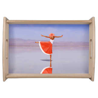 Ballerina Dancing on the Beach Serving Tray