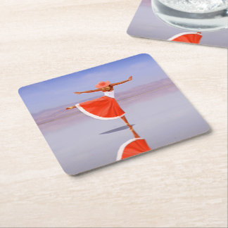 Ballerina Dancing on the Beach Square Paper Coaster