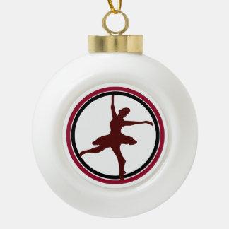 Ballerina Design /Burgundy & Black Ceramic Ball Christmas Ornament