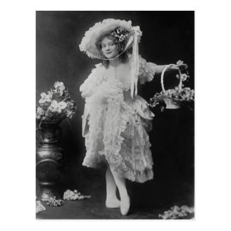 Ballerina dressed in layers of frills and lace postcard