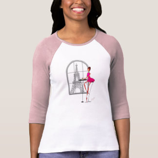 BALLERINA EIFFEL TOWER CAFE PARIS BALLET TSHIRT