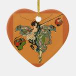 Ballerina Faerie With Lanterns Ceramic Heart Decoration