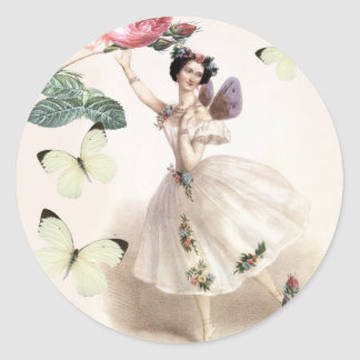 Ballerina Fairy Round Sticker