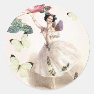 Ballerina Fairy Round Sticker