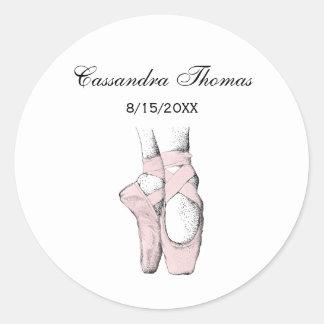 Ballerina Feet on Pointe #1 Lt Pink Classic Round Sticker