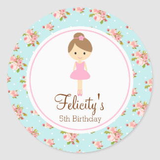 Ballerina Flower 2inch round personalized tag Round Sticker