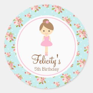 Ballerina Flower 2inch round personalized tag Round Sticker