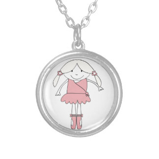 Ballerina Girl Silver Plated Necklace