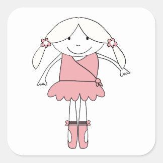 Ballerina Girl Square Sticker