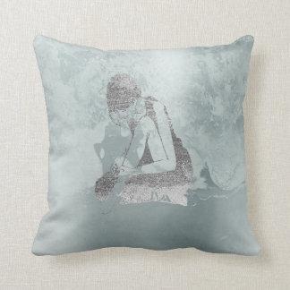 Ballerina Gray Grungy Metallic Silver Aqua Tiffany Cushion