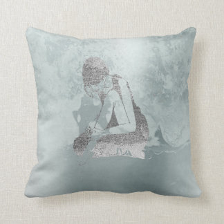 Ballerina Gray Grungy Metallic Silver Aqua Tiffany Throw Pillow