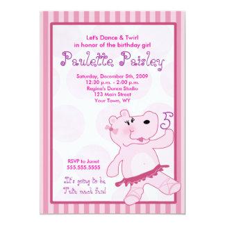 BALLERINA HIPPO Ballet Tutu Girl Invitation