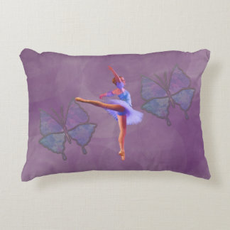Ballerina in Arabesque Position in Purple and Blue Decorative Cushion