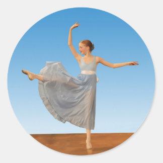 Ballerina in Blue Costume Classic Round Sticker