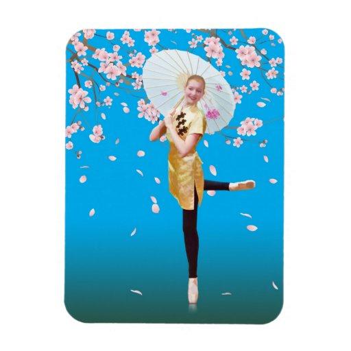 Ballerina in Cherry Blossom Time Magnet