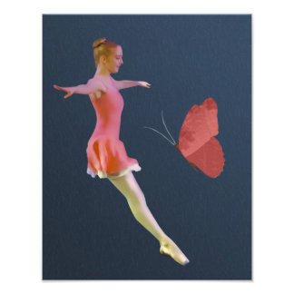 Ballerina in Chestnut Rose with Butterfly Art Photo