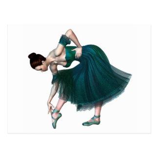 Ballerina in Green Postcard