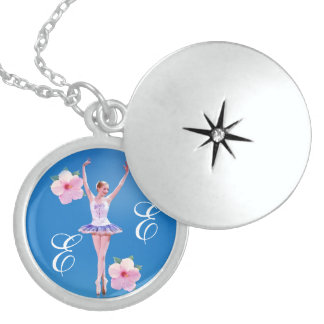 Ballerina in Purple and White  with Monogram Round Locket Necklace